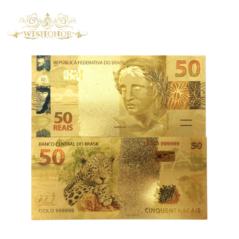 10 pçs/lote cor brasil notas de ouro 50 reais notas em 24 k ouro falso papel dinheiro para a coleção