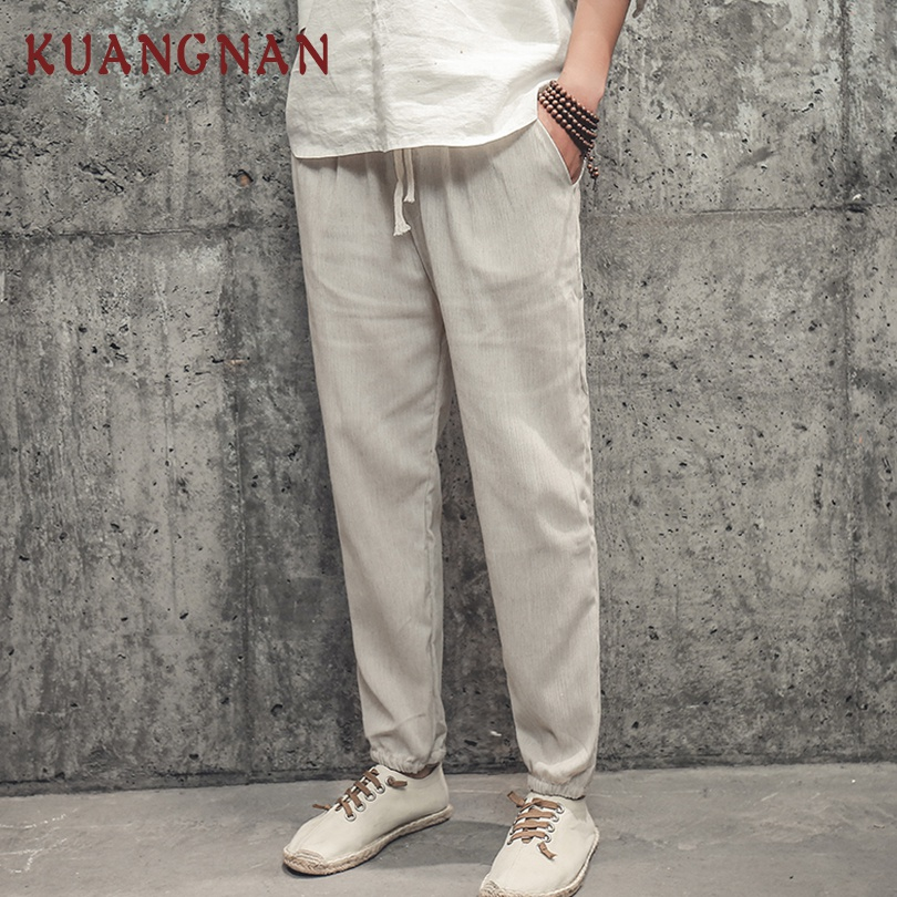 KUANGNAN Linen Pants Men Joggers Chinese-Style Streetwear Trousers Hip-Hop Ankle-Length
