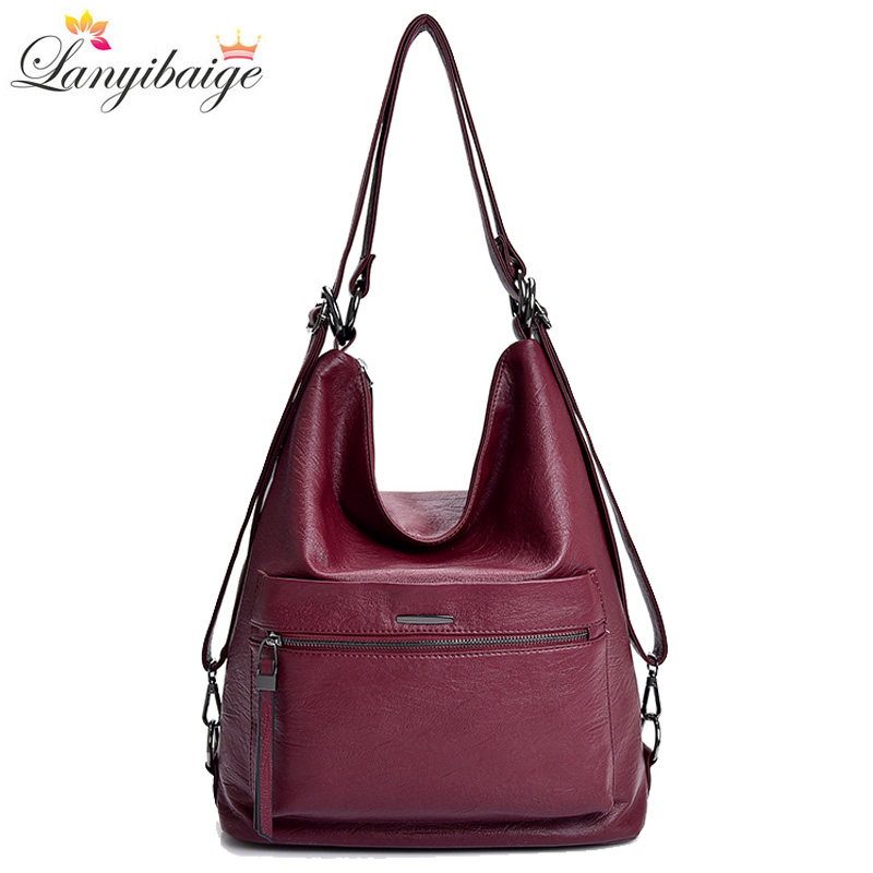 3-in-1 Leather Multifunction Backpack For Teenage Girls Fashion Female Large Capacity School Bag Women Shoulder Bags 2019 Sac