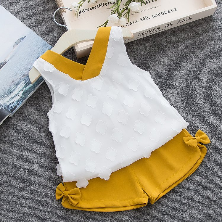 HTB1 x31d.GF3KVjSZFmq6zqPXXaP - Humor Bear Baby Girl Clothes Hot Summer Children's Girls' Clothing Sets Kids Bay clothes Toddler Chiffon bowknot coat+Pants 1-4Y