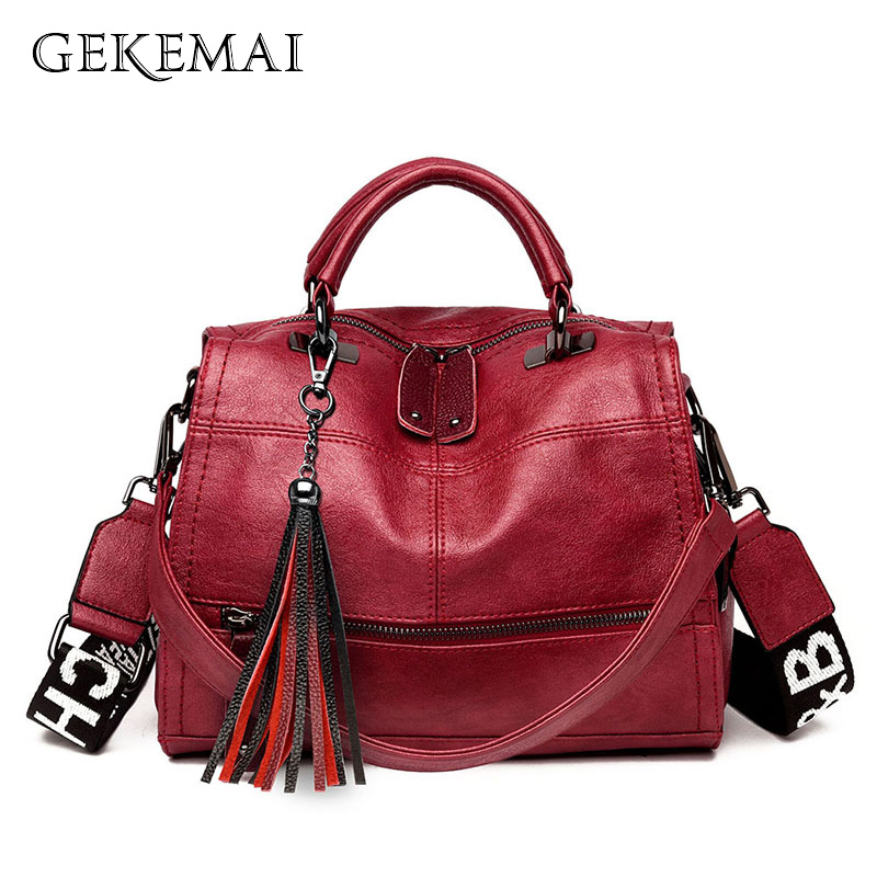 Designer Colored Strap Luxury Ladies Handbags Leather Women Messenger Bags Tassel Crossbody Bags For Female Small Shoulder Bag