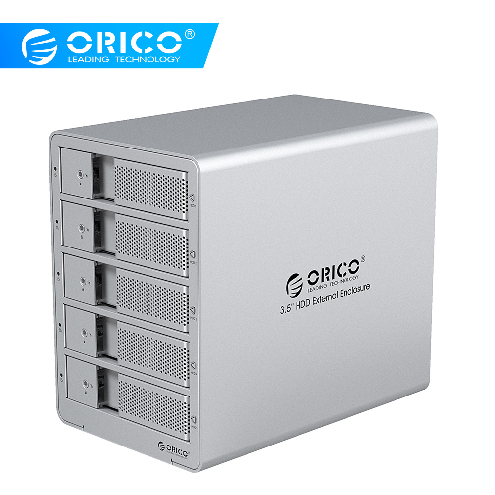 ORICO 9558U3-SV sans outil en aluminium USB 3.0 5 baies 3.5 pouces SATA boîtier de disque dur Support 5x6 to lecteur livraison gratuite-argent