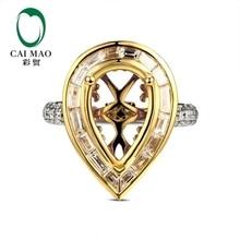 CaiMao Pear cut Semi Mount Ring Settings & 1.54ct Diamond 18k White Gold Gemstone Engagement Ring Fine Jewelry