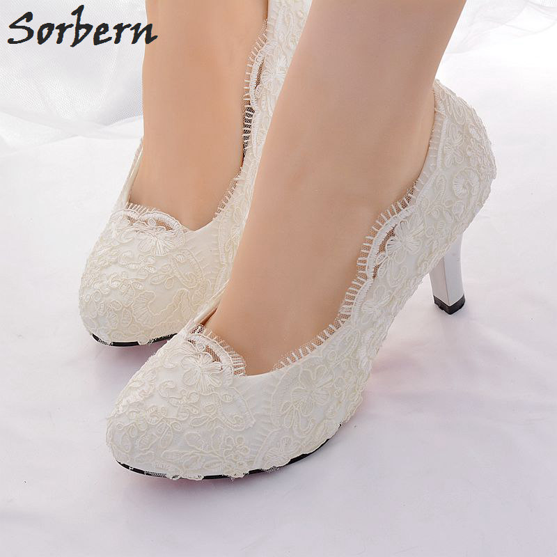 Sorbern White Lace Bridal Wedding Shoes Applique Womens