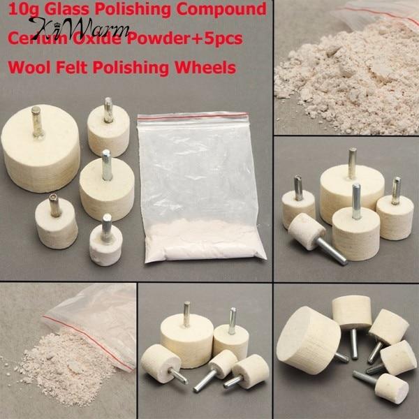 10g Glass Polishing Compound Cerium Oxide Powder+5pcs 20-40mm Wool Felt Polishing Wheels For Removing Burrs Rust Dust