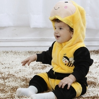 Baby Boy Girl Hooded Rompers Animal Cosplay Costume Newborn Infant Jumpsuit Yellow Bee Clothes