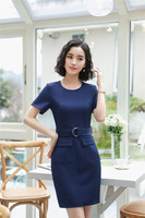Elegant Navy Blue Slim Hips 2018 Summer Short Sleeve Dresses Women Uniform Styles Dress Career Female Clothes Plus Size