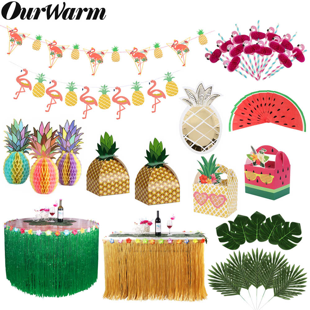 OurWarm Hawaiian Party Supplies Pineapple Banner Flamingo Flag Pineapple Paper Plate Watermelon Napkin Fruit Birthday Party Luau