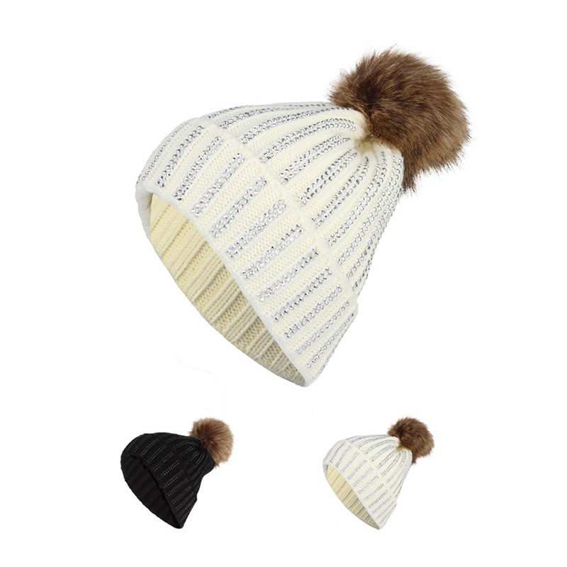 2017 Fashion Fur Pompon Knitted Hats For Women Winter Skullies Beanies Thick Warm Caps Solid Female Rhinestones Hats velvet thick keep warm winter hat for women rabbit fur knitted beanies ladies female fashion skullies elegant hats for women