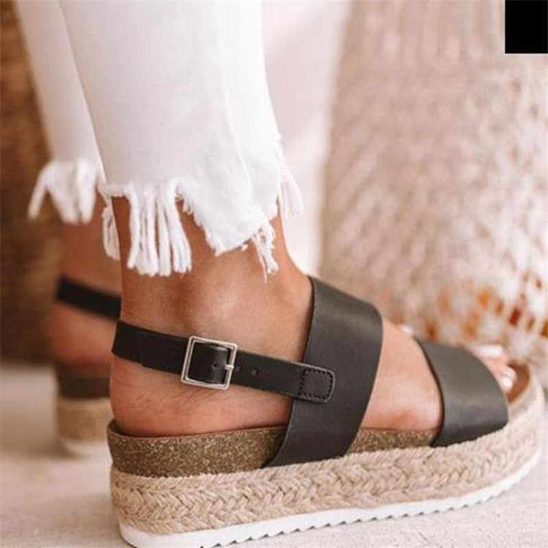 COOTELILI yaz kadın plaj ayakkabısı kadın sandalet düz platformlar kadın gladyatör sandalet kadın Sandalen bej siyah