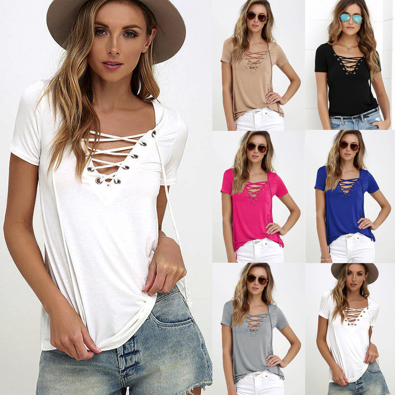 48eeef130ce KL312 Women sexy choker V neck tops rope cross elastic casual t shirt  summer white cool tees-in T-Shirts from Women's Clothing on Aliexpress.com  | Alibaba ...