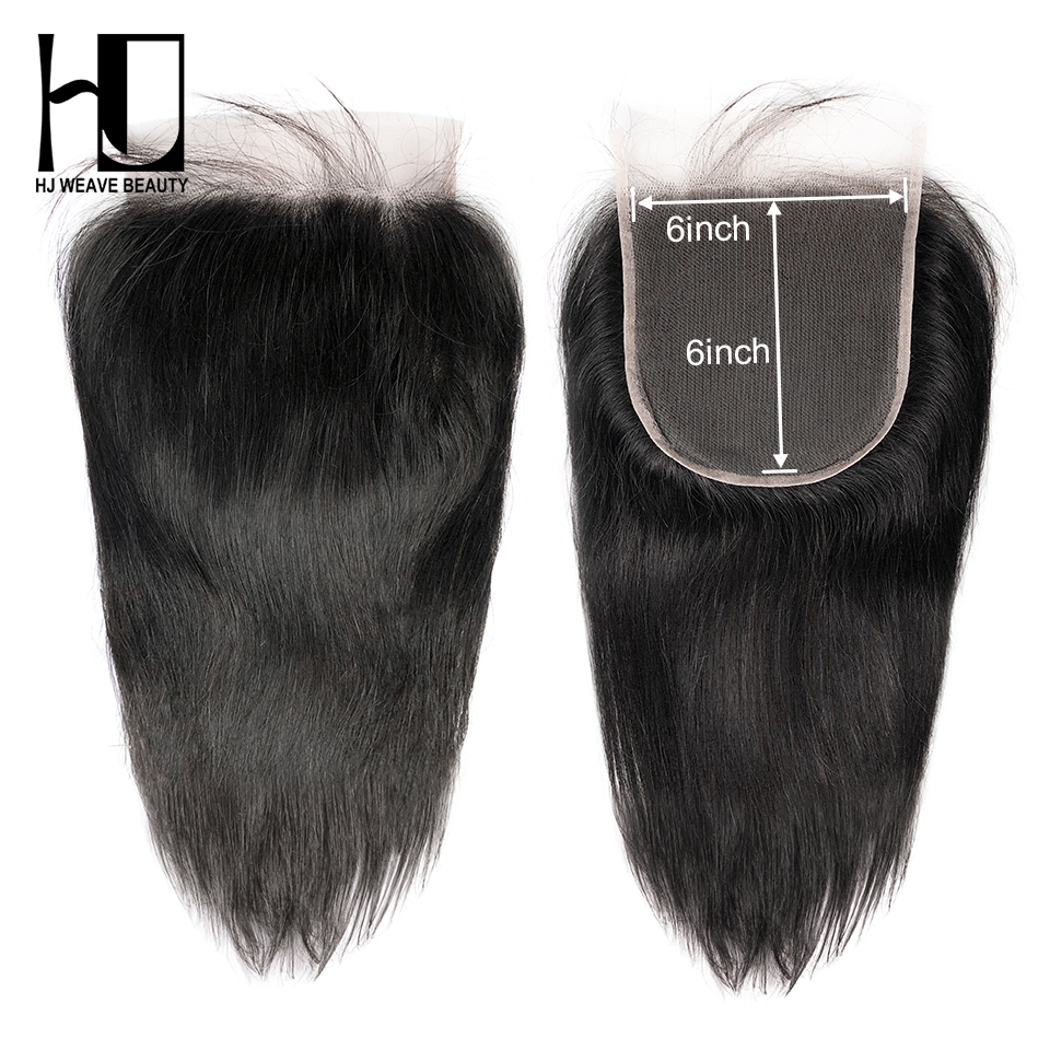 HJ Weave Beauty 6x6 Lace Closure Pre Plucked With Baby Hair Natural Hairline Brazilian Straight Remy Hair HD Transparent Lace