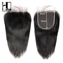 HJ Weave Beauty 6x6 Lace Closure Pre Plucked With Baby Hair Natural Hairline Brazilian Straight Remy Hair HD Transparent Lace(China)