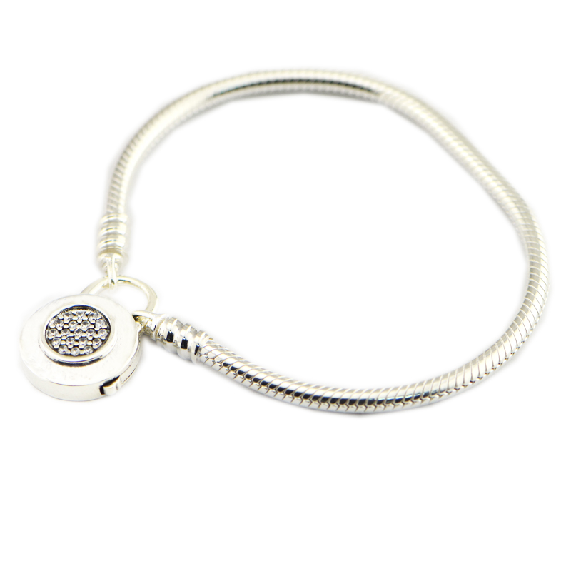 Compatible With European Jewelry Moments Smooth Silver Bracelet CZ 100% 925 Sterling Silver Bracelets DIY Wholesale 925 sterling silver cz by the yard anklet bracelet 10
