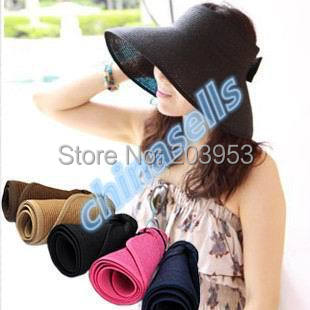 1pcs Women Travel Vacation Beach Empty Top Hats Cap Visor Straw Hat Lady Summer Sunscreen Folding Wide Large Sun Hat