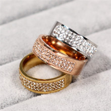 Rose Gold Famous Brand Zircon Ring New 8mm Half Circle Three Row Crystal 316L Stainless Steel finger Rings for women men