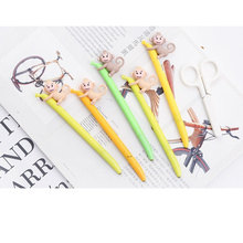 4 pcs Monkey with banana gel pen 0.5mm roller ball Black color ink pens Sweet gift for writing Office School supplies FB748