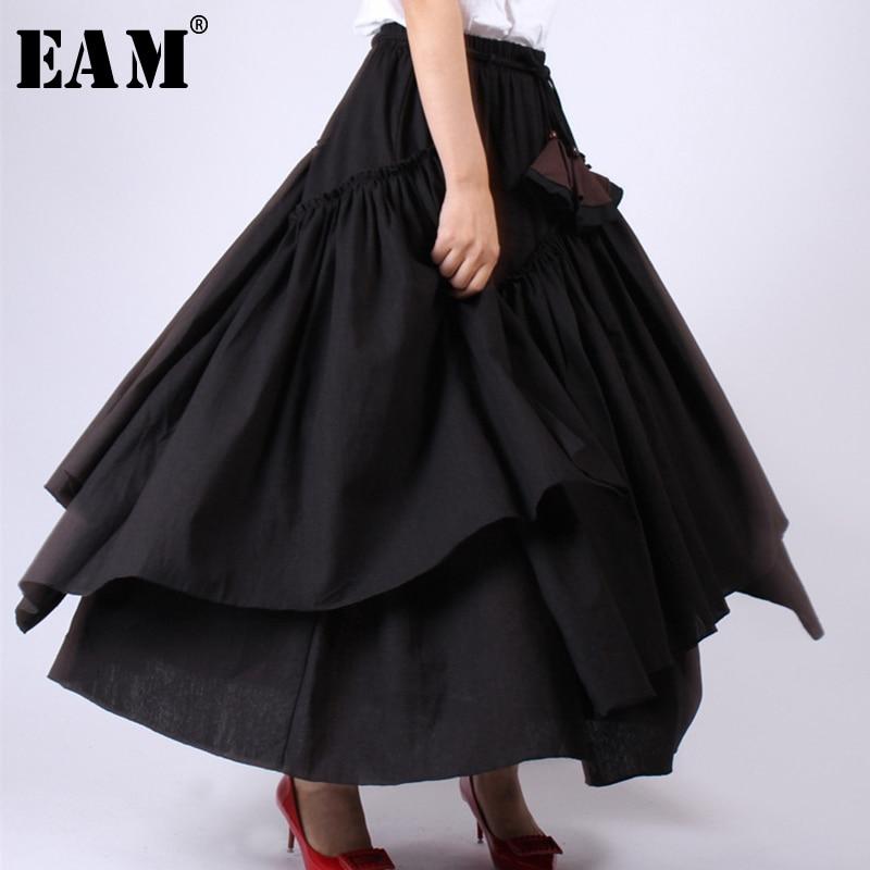 [EAM] 2019 New Spring Summer High Elastic Waist Black Layer Ruffles Split Joint Half-body Skirt Women Fashion Tide JW780