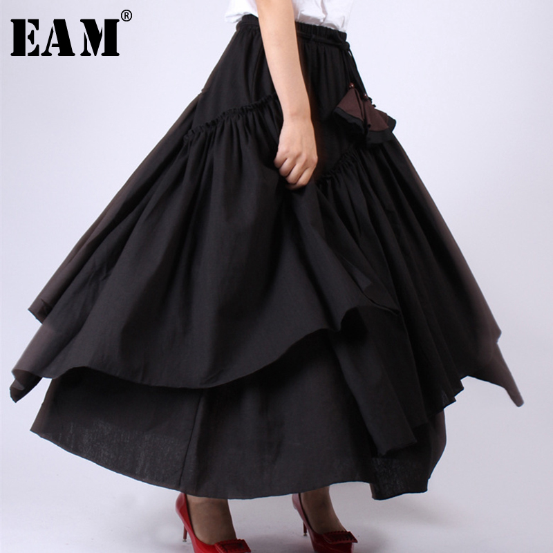 [EAM] 2020 New Spring Summer High Elastic Waist Black Layer Ruffles Split Joint Half-body Skirt Women Fashion Tide JW780
