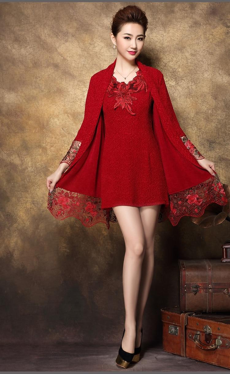 Ropa Las Del Primavera Edad Vestido Negro rojo Bordado Otoño Invierno Camisa Mediana De Encaje Piezas Blusa Mujeres Dos 2018 Mujer dB0nzYqww