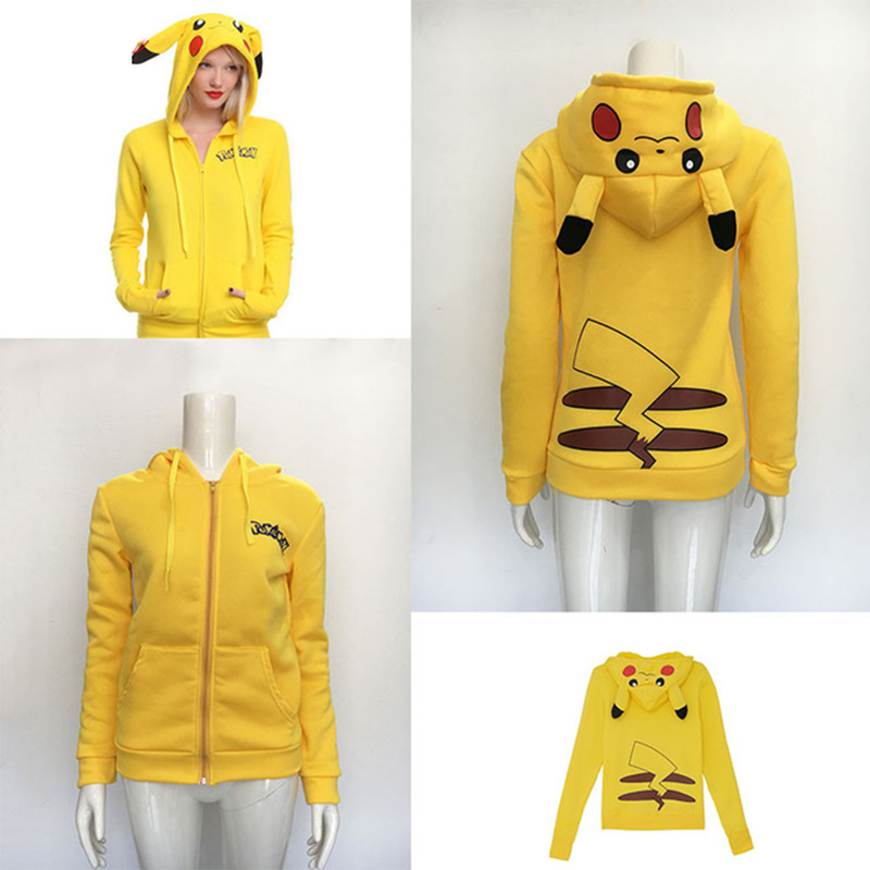 Adult Pokemon Pikachu Game Anime Cosplay Costume Ladies zipper Hoodie Rabbit Ears Halloween Cosplay Jacket Costume