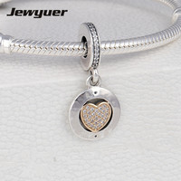 Signature Heart Charms 925 Sterling Silver Fine Jewelry With Gold Bow Fit Charm Bead Bracelet Necklace