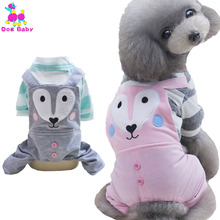 DOGBABY Autumn Pets Coats Cotton Jumpsuit For Dog Blue Pink Color Little Fox Shape Dog Clothes For Chihuahua Yorkshire