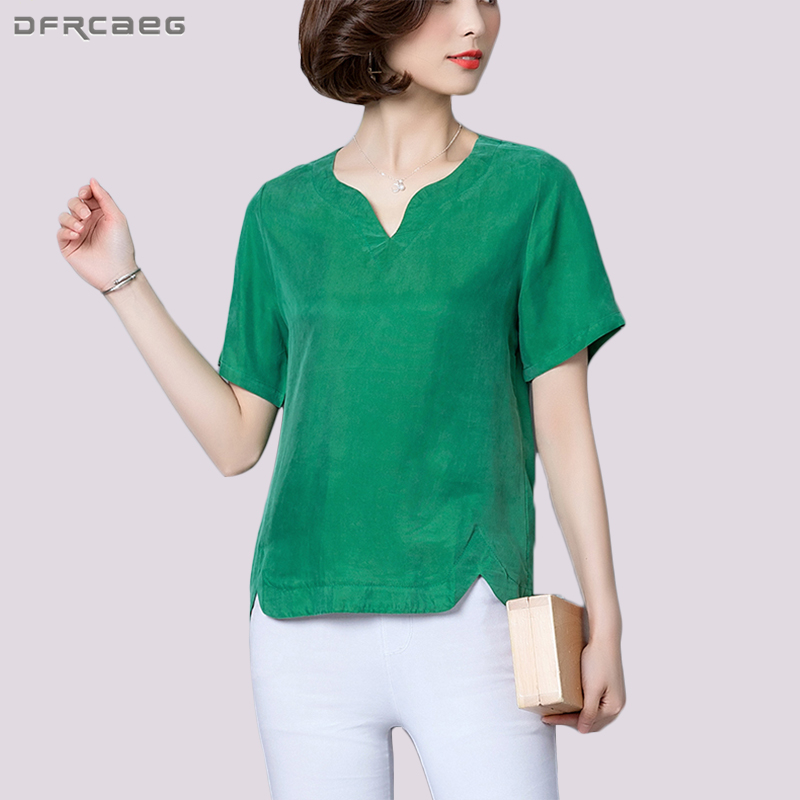Casual Blouse High Quality Blusas Loose Big Size Woman Clothes Satin Silk Womens Tops And Blouses V-Neck Summer Ladies Shirts