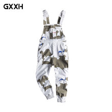 Workwear Camouflage pants Men's trend Loose Hip Hop piece Jumper Japanese Retro Locomotive Straps Straps Suspenders Size S-XXL