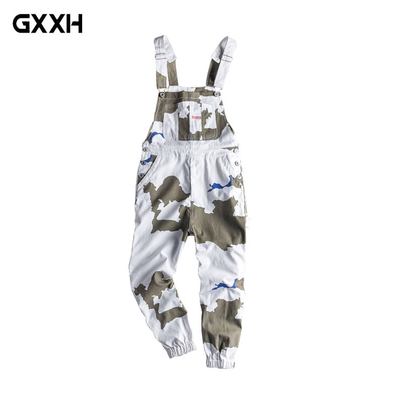 Workwear Camouflage pants Men s trend Loose Hip Hop piece Jumper Japanese Retro Locomotive Straps Straps