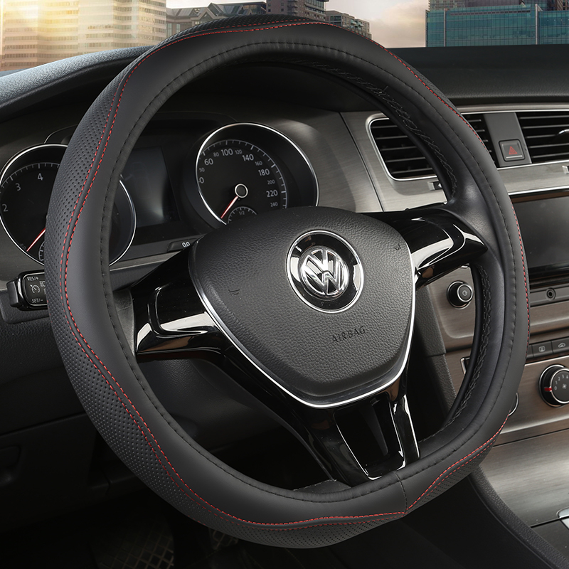 D series Micro Fiber Leather Car Steering Wheels Covers 38CM/15\'\' Steering Wheel Hubs Car Styling,For VW GOLF 7 2015 POLO JATTA