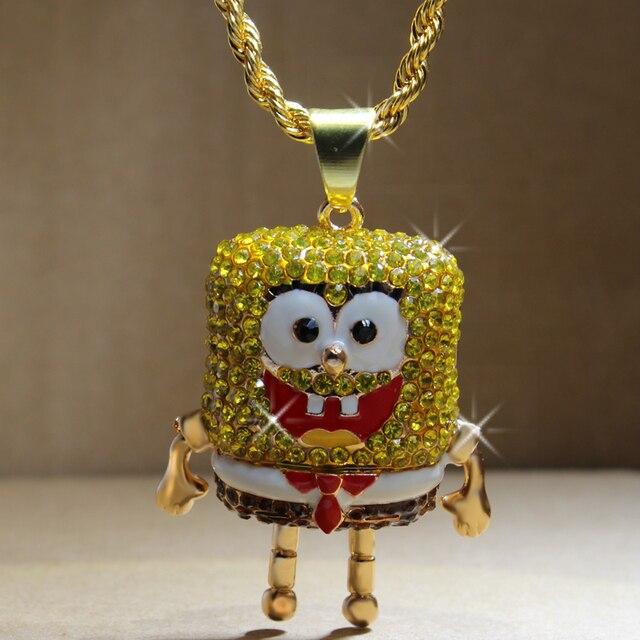 Karopel De Spongebob Squarepants Hangers Hip Hop Retro Cartoon Ketting Iced Out Gold Touw Mens Chain Bling