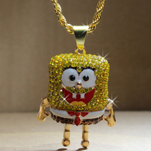 Karopel The SpongeBob SquarePants Pendants Hip Hop Retro Cartoon Necklace Iced Out Gold Rope Mens Chain Bling