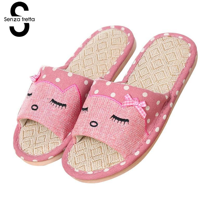 Senza Fretta Women Shoes Linen Slippers Home Slippers Indoor Non-slip Thick Cute Cartoon Slippers Comfortable Breathable Shoes summer children shoes girls boys slippers cute cartoon comfortable fashion kids slippers anti slip girls slippers beach shoes