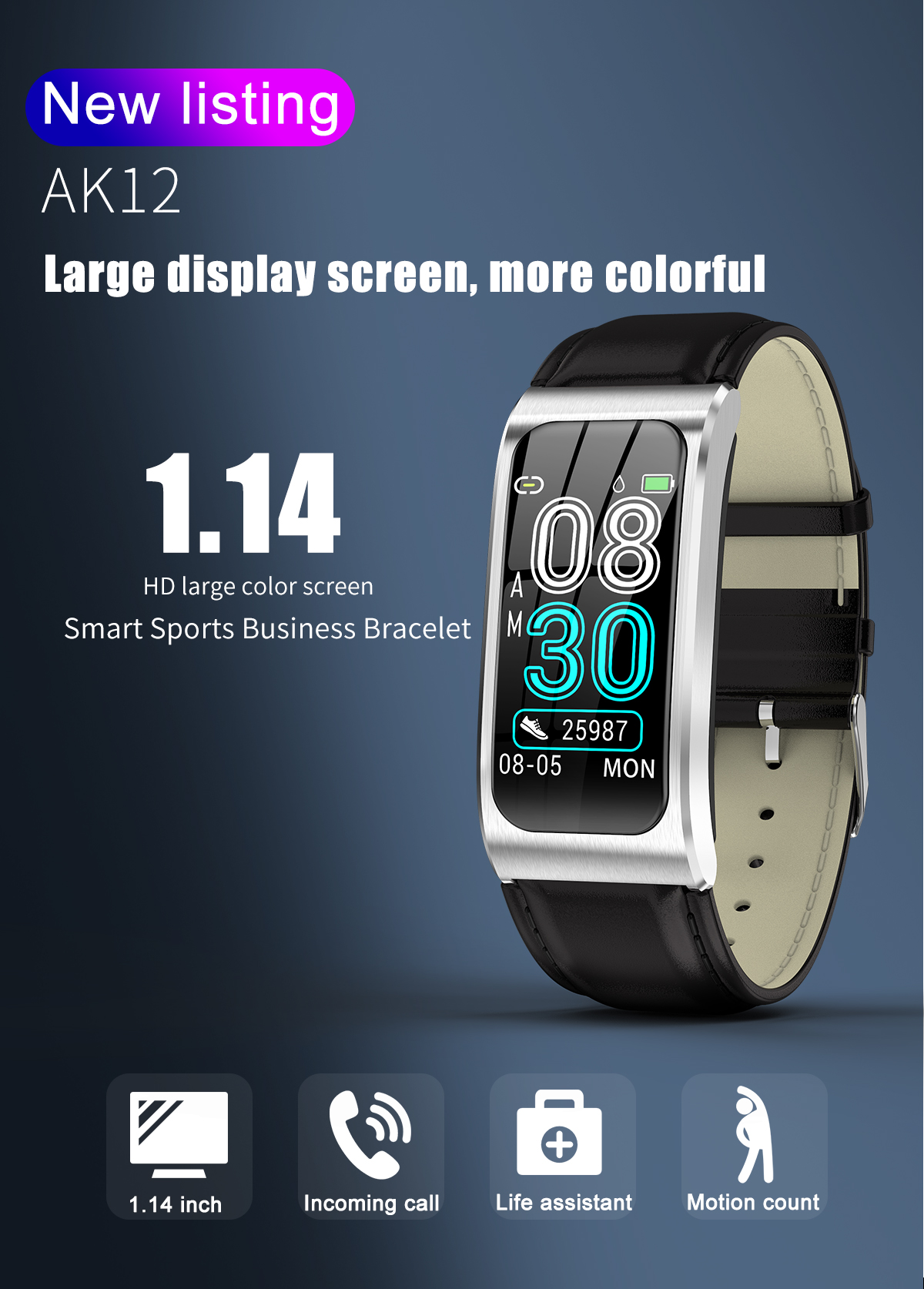 """Smartwatch 1,14"""" IP68 impermeable Android IOS 1"""