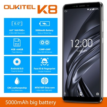OUKITEL K8 Android 8.0 6.0″ FHD+ 18:9 MTK6750T Octa Core 4G RAM 64G ROM 5000mAh 13.0MP+2.0MP Fingerprint Face ID Smartphone