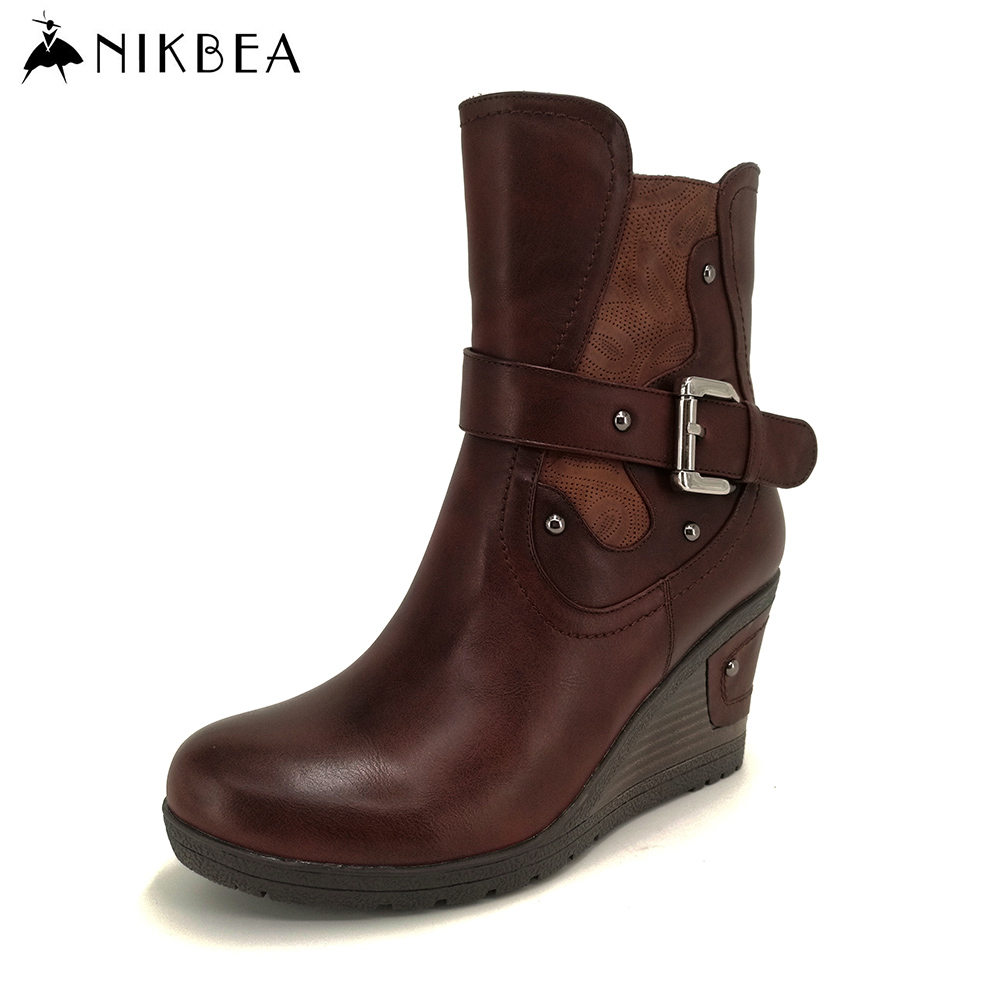 Nikbea Handmade 2016 Luxury Brown Warm Winter Wedges Ankle Equestrian Boots Riding Women Zipper Booties Soft Leather Round Toe warm brown