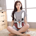 Women Summer Casual Tracksuit Pajamas 2 Pc Nightgown Sets Cute Cartoon Bunny Tops + Shorts Sleepwear Homewea Clothing Set