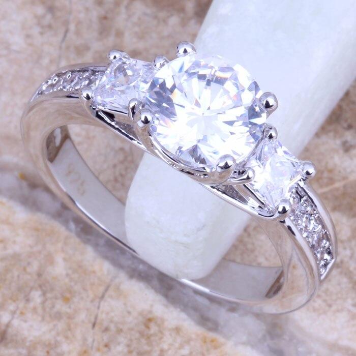 d098de1bb Deslumbrante blanco CZ plata estampada 925 mujeres anillo de la joyería  Tamaño 7 8 9 R0671