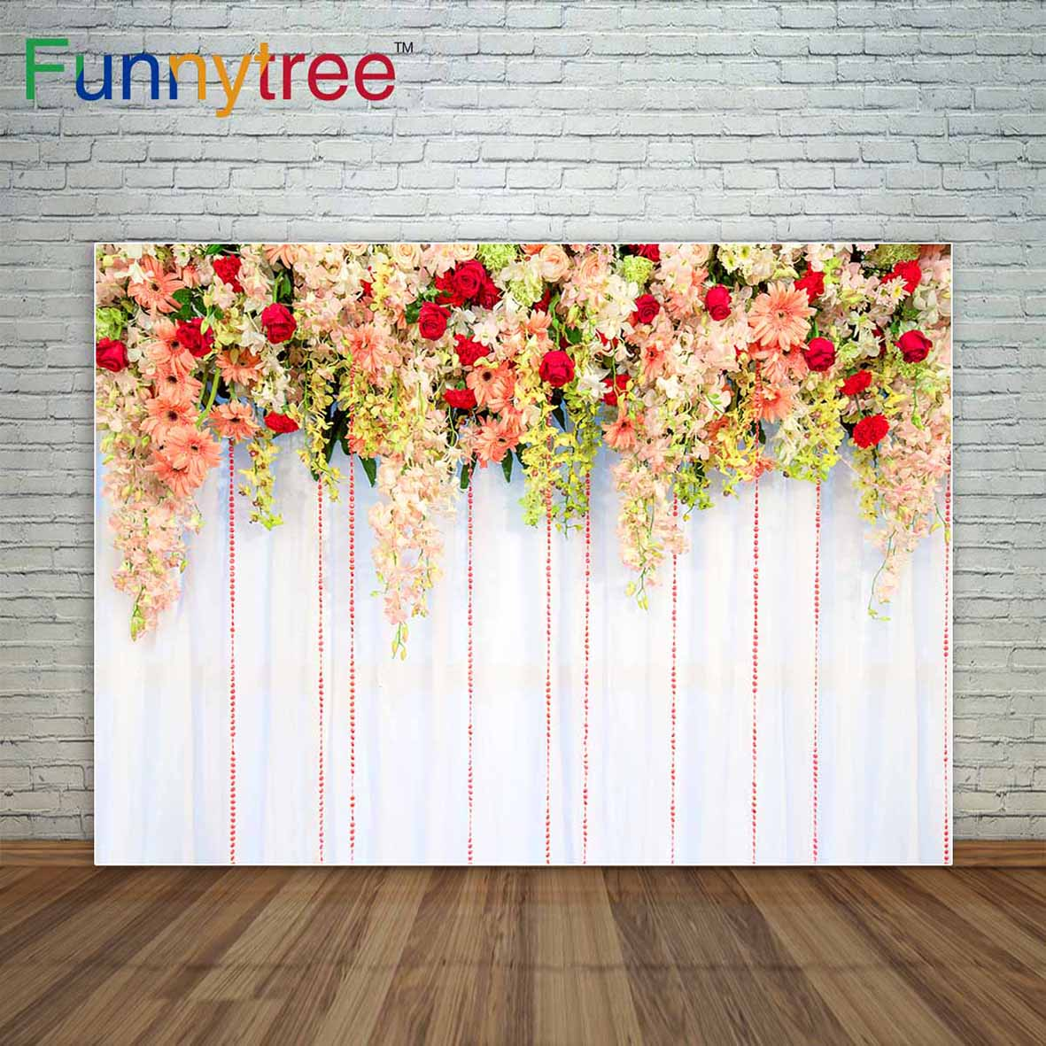 Funnytree photo background tropical flowers with green leaves background for wedding Valentine's Day decoration photocall vinyl