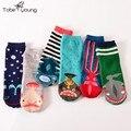 2016 das Mulheres Meias de Algodão Encantador Engraçado Dos Desenhos Animados Animal Dots Stripes Longo Colorido Sock Calcetines Casual Muje