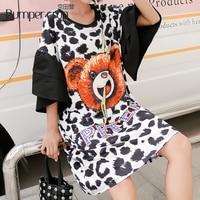 BUMPERCROP Women Dress Casualblack Leopard Print Lady New Style Kneed Length Dress Half Carton bear Dress bella hadid Cotton