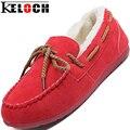 Keloch Invierno Mujeres Zapatos Casual Fashion Solid Corto forro de Felpa Keep Warm Mujeres Pisos Mocasines Slip-On Zapatos de Nieve