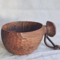 Чистая ручная работа из тикового дерева чаша с ручкой коричневый Тим легко носить покрытие дружественное масло посуда для молока/салата