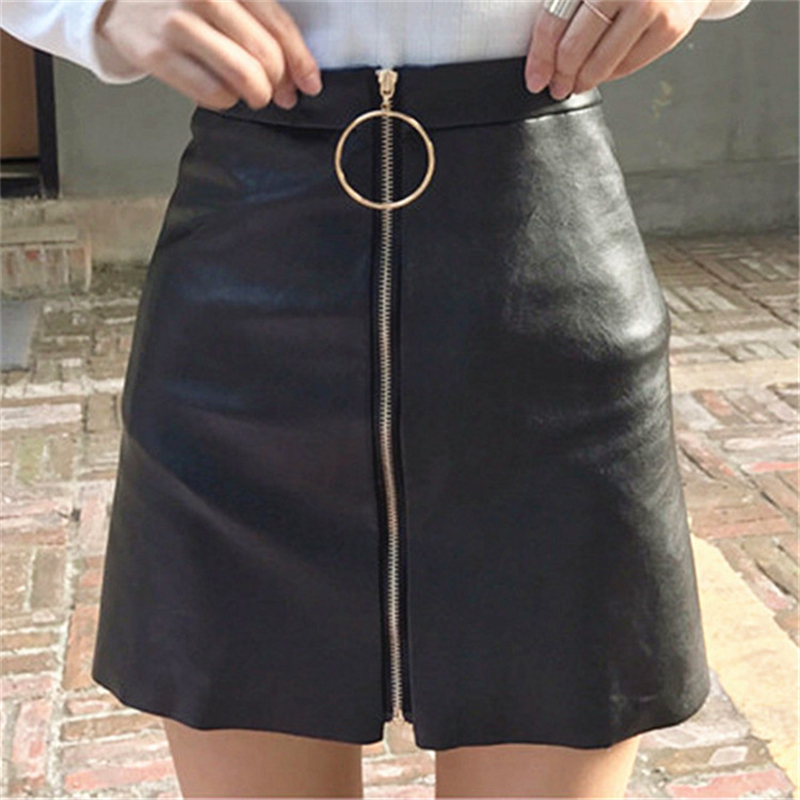 Skirt 2018 the new skirt Han edition cultivate ones morality fashion pu leather Bust skirt of tall waist ring zipper A word