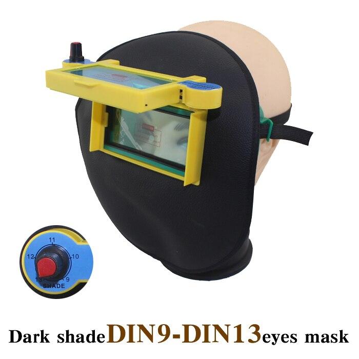 DIN9-DIN13 DARK SHADE Solar auto darkening Cool leather eyes mask welding helmet eyeshade/patch/goggles for welder in summer  цены