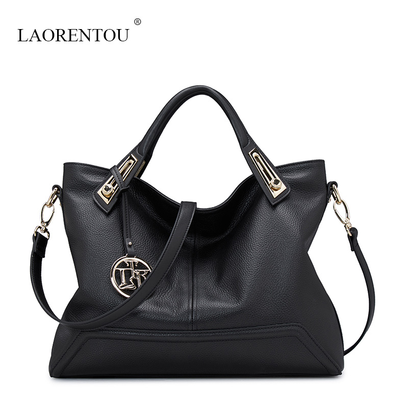 LAORENTOU 2016 NEW Genuine Leather middle age women handbags High quality Casual messenger shoulder bag fashion lady tote bags genuine leather patckwork bags women casual messenger bag women s lady colorful zipper shoulder designer handbags high quality