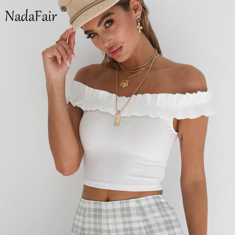 Nadafair Off Shoulder Slash Neck Backless Sexy Crop   Tops   Women Summer White Black Knitted Cotton Ruffles Casual   Tank     Tops