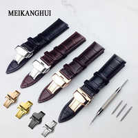 Bracelet de montre 12mm18mm 19mm 20mm 21mm 22mm 24mm souple en cuir de veau véritable bracelet de montre Alligator Grain bracelet de montre pour Tissot Seiko
