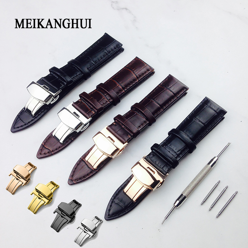 Watchband 12mm18mm 19mm 20mm 21mm 22mm 24mm Soft Calf Genuine Leather Watch Strap Alligator Grain Watch Band For Tissot Seiko